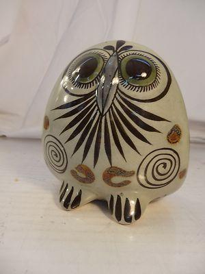 Tonala Ke Mexican Folk Art Signed Hand Painted Owl Studio