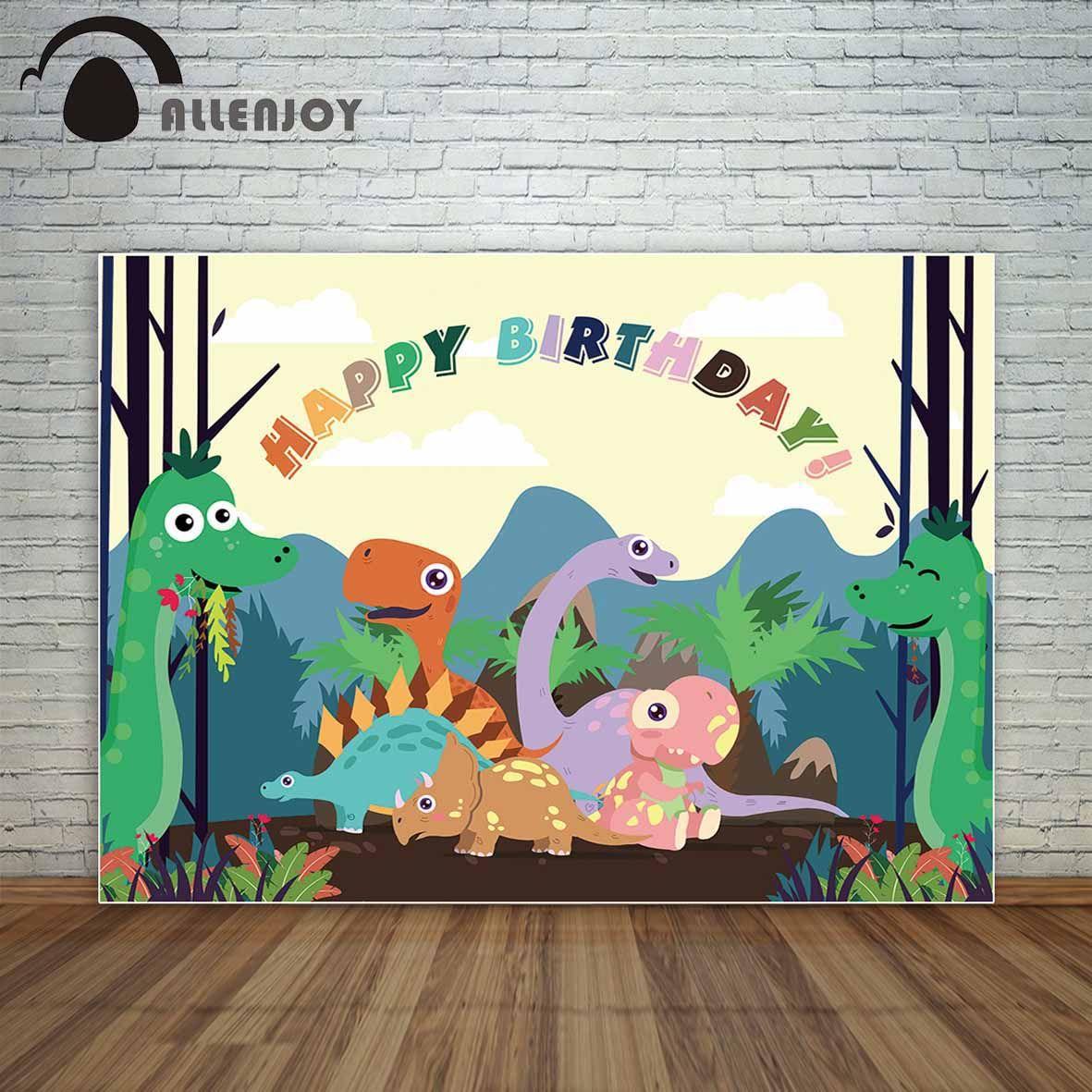 Allenjoy Birthday backdrop photocall Cute cartoon dinosaur tree ...