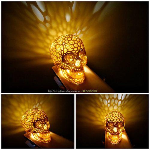 Skull Lamps Voronoi Style Pinshape 3d Printing Diy Prints 3d Printing
