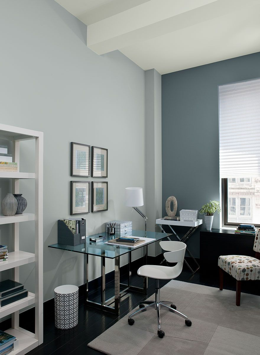 Exceptional Blue Home Office Ideas   Serene And Streamlined Blue Office   Paint Color  Schemes