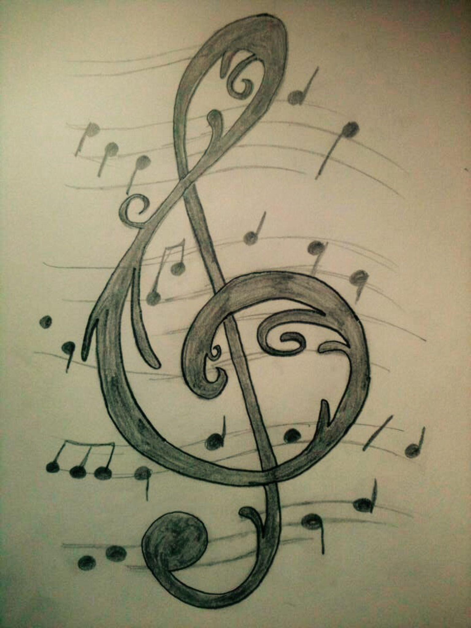 dibujos drawings sol clave notes sketches reveles alejandra musica notas musicales stencil note draw sketching lapiz negro