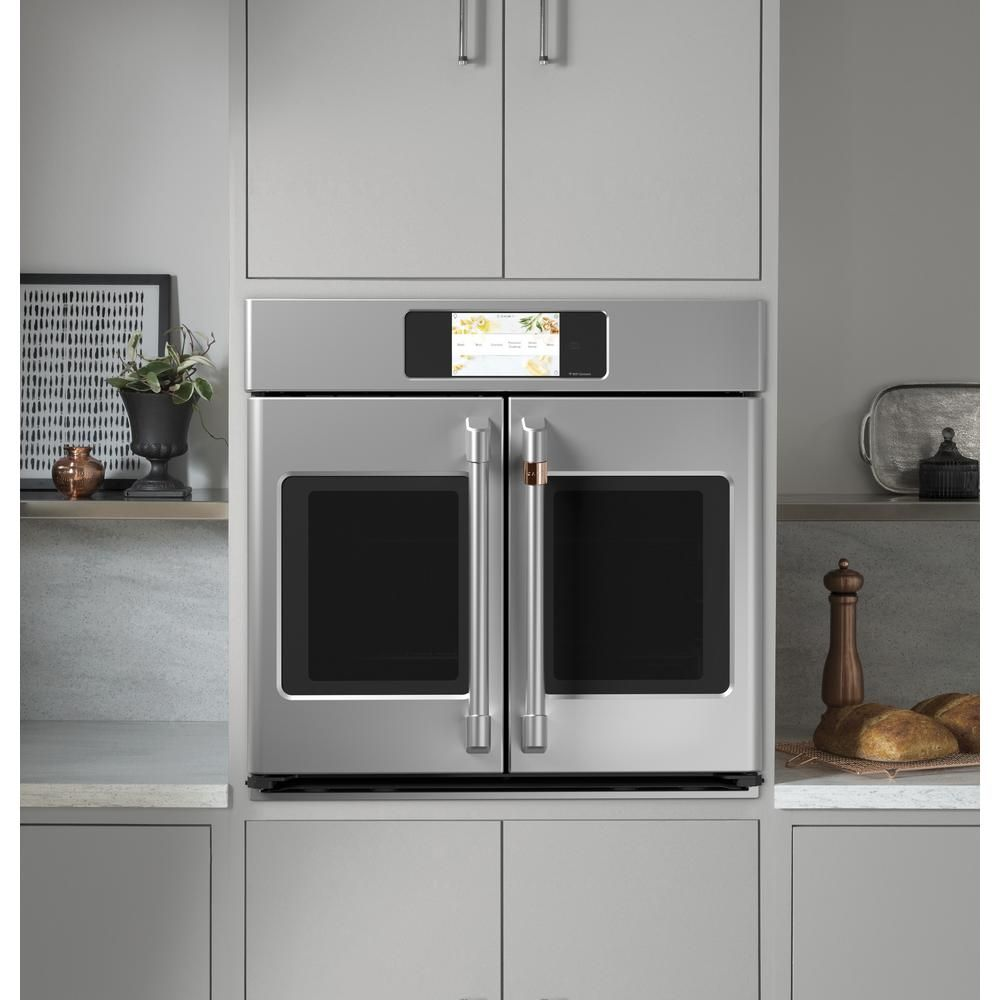 Cafe 30 In Smart Single Electric French Door Wall Oven With Convection Self Cleaning In Stainless Steel Cts90fp2ns1 The Home Depot In 2020 Convection Wall Oven French Door Wall Oven Wall Oven