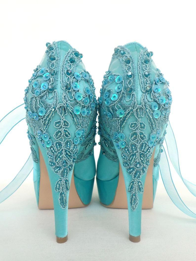 Embellished Lace Wedding Shoes Teal Satin Embroidered Bridal Etsy Wedding Shoes Lace Wedding Shoes Bride Lace Bridal Shoes