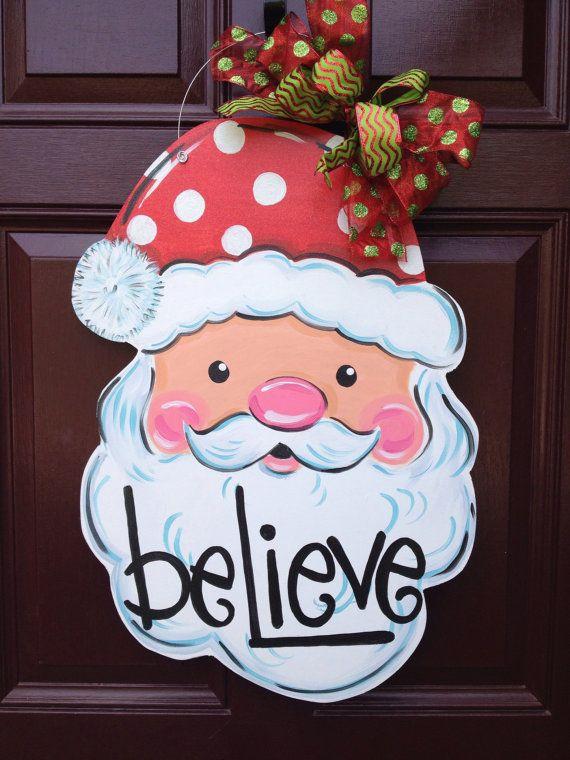 Santa Door Hanger Christmas Door Hanger Black Friday Etsy Christmas Door Hanger Black Christmas Decorations Christmas Door Decorations