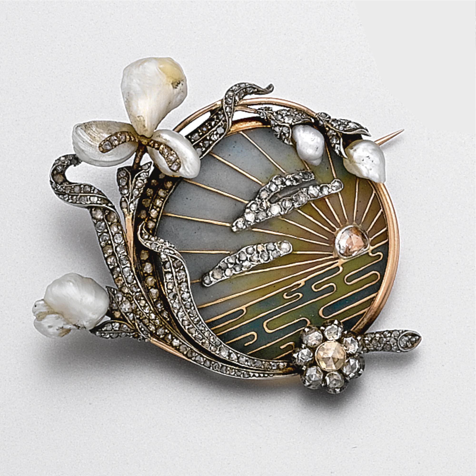ART NOUVEAU PLIQUE-À-JOUR ENAMEL, DIAMOND AND PEARL BROOCH, CIRCA 1900 SOTHEBY'S