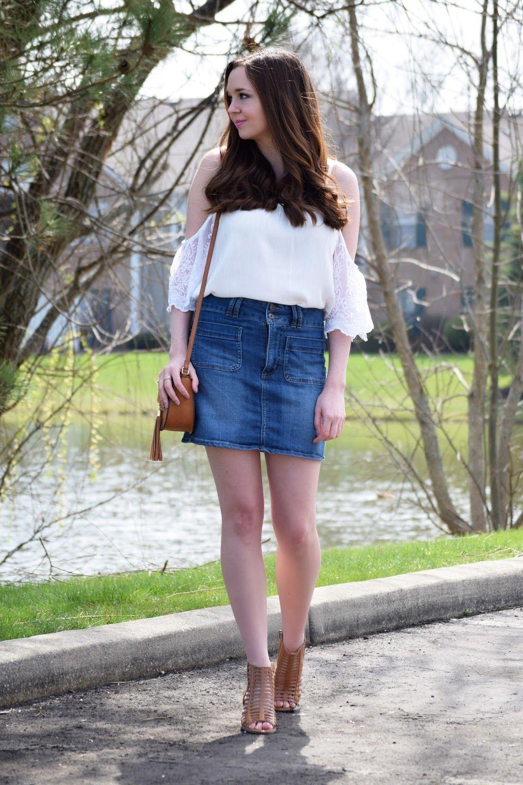 cold shoulder top and denim skirt denim skirt ambition