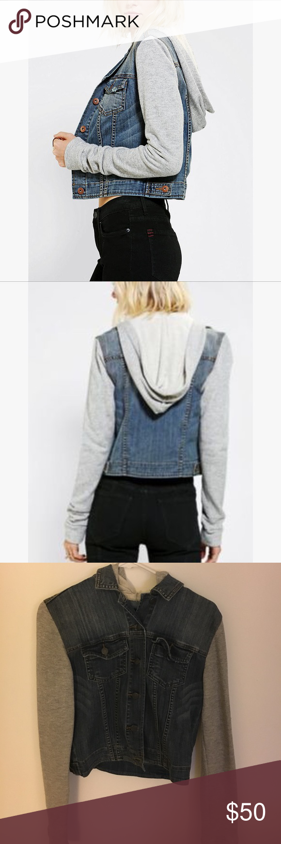 BDG denim/hoodie BDG denim vest sweater sleeve hoodie, size Medium, from Urban Outfitters BDG Jackets & Coats Jean Jackets