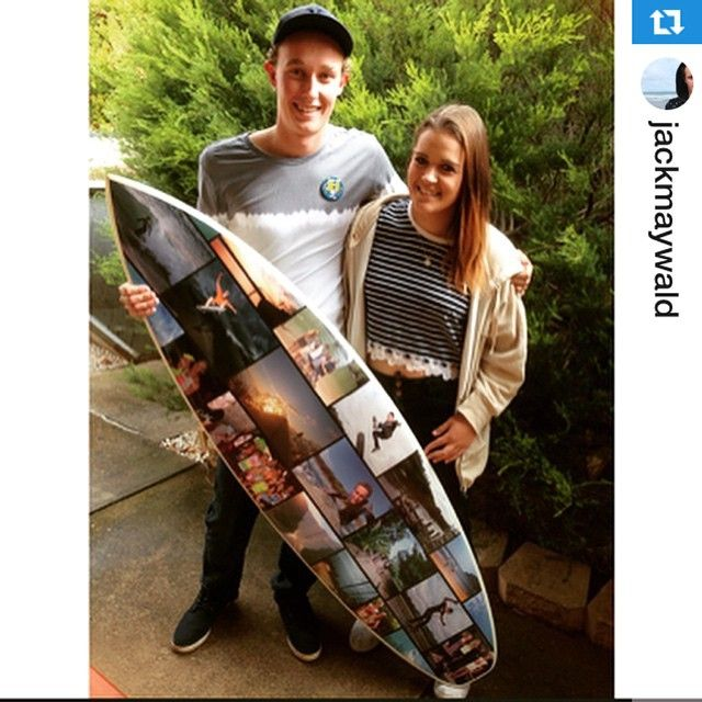 Stoked when you're stoked... @laurenashleegrigg surprised @jackmaywald with this awesome photoboard.... Looked amazing guys.... #dogoodhavefun #ctrlv #surfboarddecal #surfart #art #surfboard #surfing #surf #asp #wsl #girlsurfer #gurfer #girlsurfnetwork #sasurfriders ・・・Present from Bae! #onpoint #surfboardcollage @ctrlvee @laurenashleegrigg