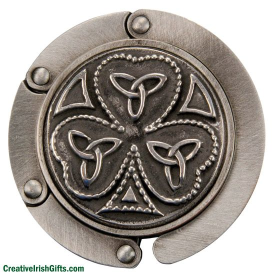 "Shamrock Handbag Holder  Keep your purse where you can see it and off the floor.  So easy to  slip into your purse and then unfold to attach to any counter or tabletop. Pewter.  2"" diameter. Made in Ireland.  Order yours today!  #IrishGifts #Irish #Ireland"