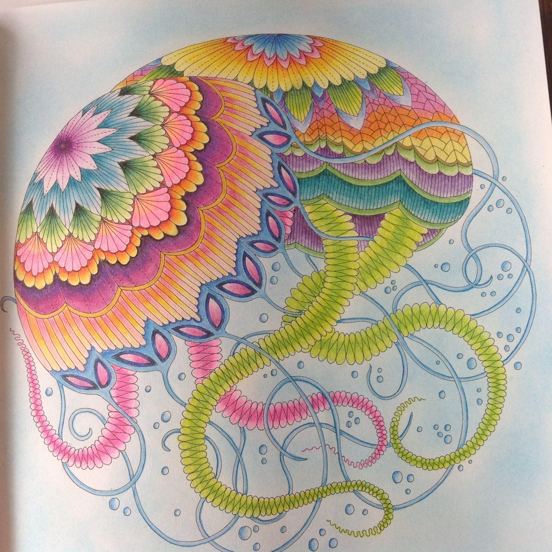Adult Coloring Books Jellyfish Paisley Calm Tropical Mandalas Nature Drawings
