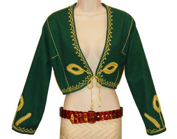 Detail for Three Amigo bolero jacket from a vintage Emerald Green ...