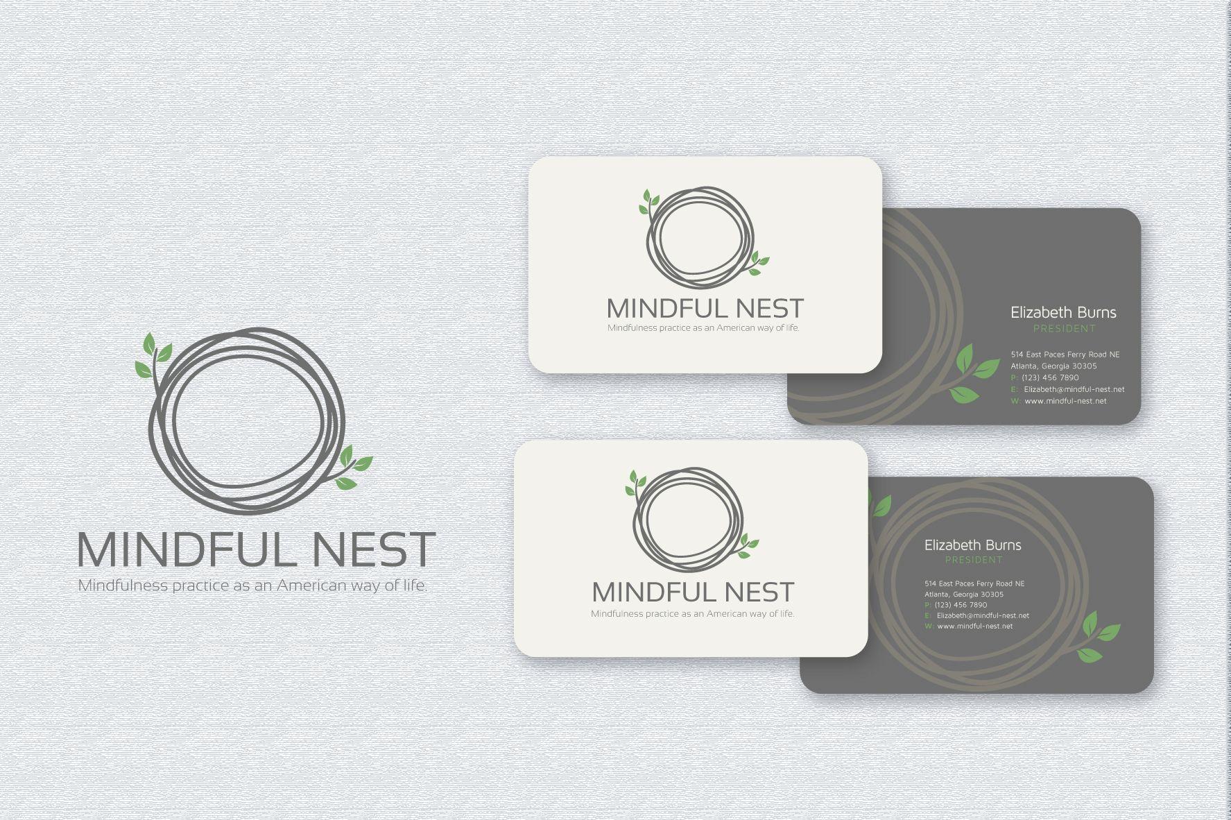 mindful nest business card design