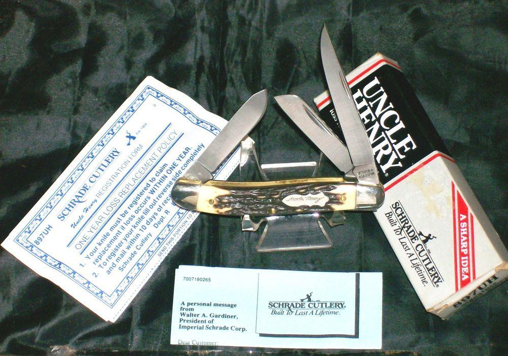 """Schrade 897UH Knife NOS """"Signature Series"""" Ca.1980's Original Packaging & Papers @ ditwtexas.webstoreplace.com"""