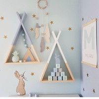 Photo of Home Fashion Decor Wooden Triangle Wall Shelf Racks Children Kids Room Macaron Color Storage Props | Wish
