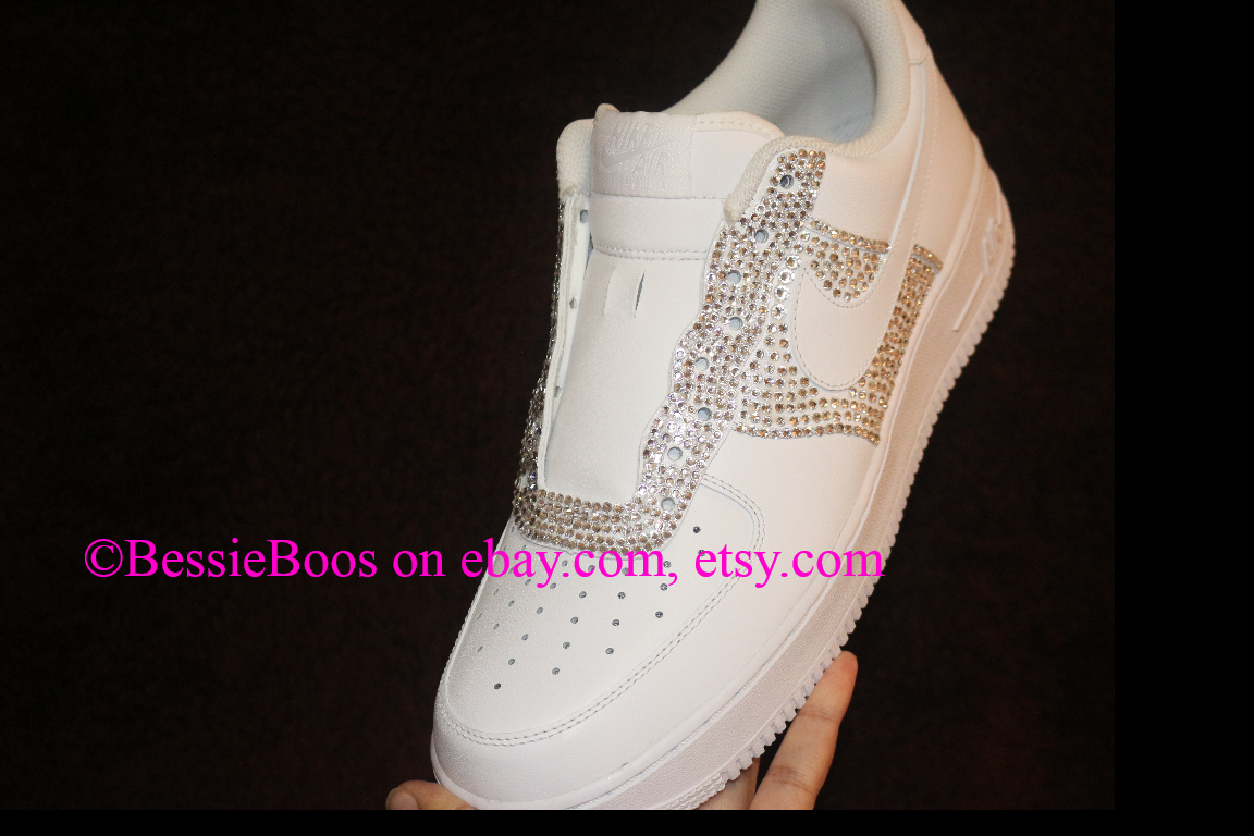 182.34 BessieBoos Nike AF1 air force one custom Swarovski bling gems  rhinestones sneakers shoes women or men 3dd700b22