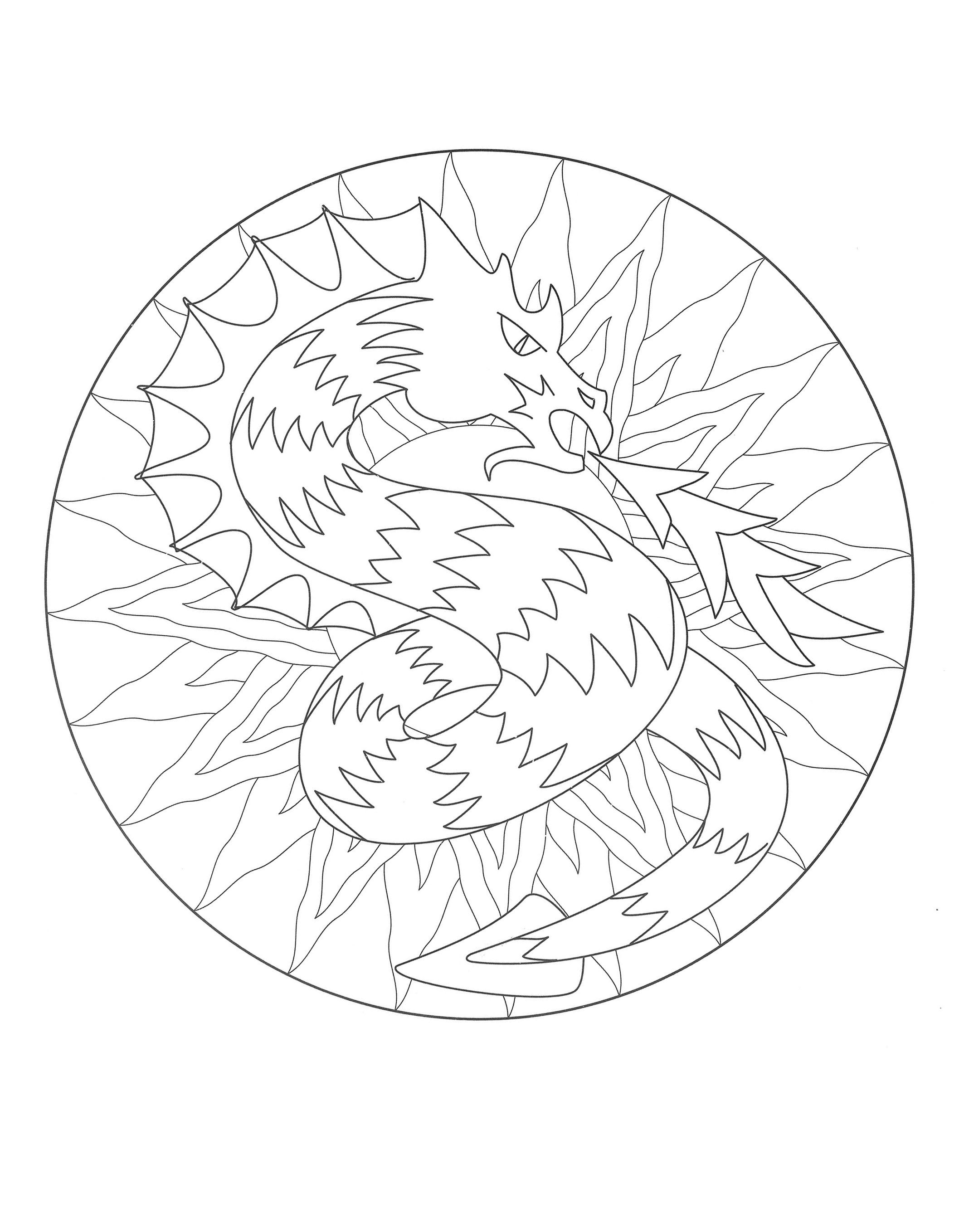 Mandala coloring pages free download - Free Mandala Coloring Page Representing A Dragon To Download On Www Coloring