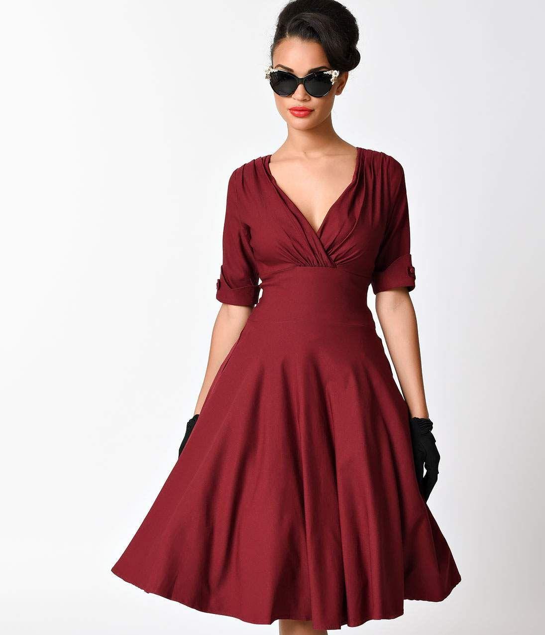 Unique Vintage 1950s Burgundy Red Delores Swing Dress With Sleeves In 2020 Vintage 1950s Dresses Swing Dress With Sleeves Burgundy Short Dress