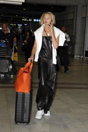 c4e601afc26 Romee Strijd wearing Away Carry-On Suitcase in Black and Frame Le Second  Tote in Citrus