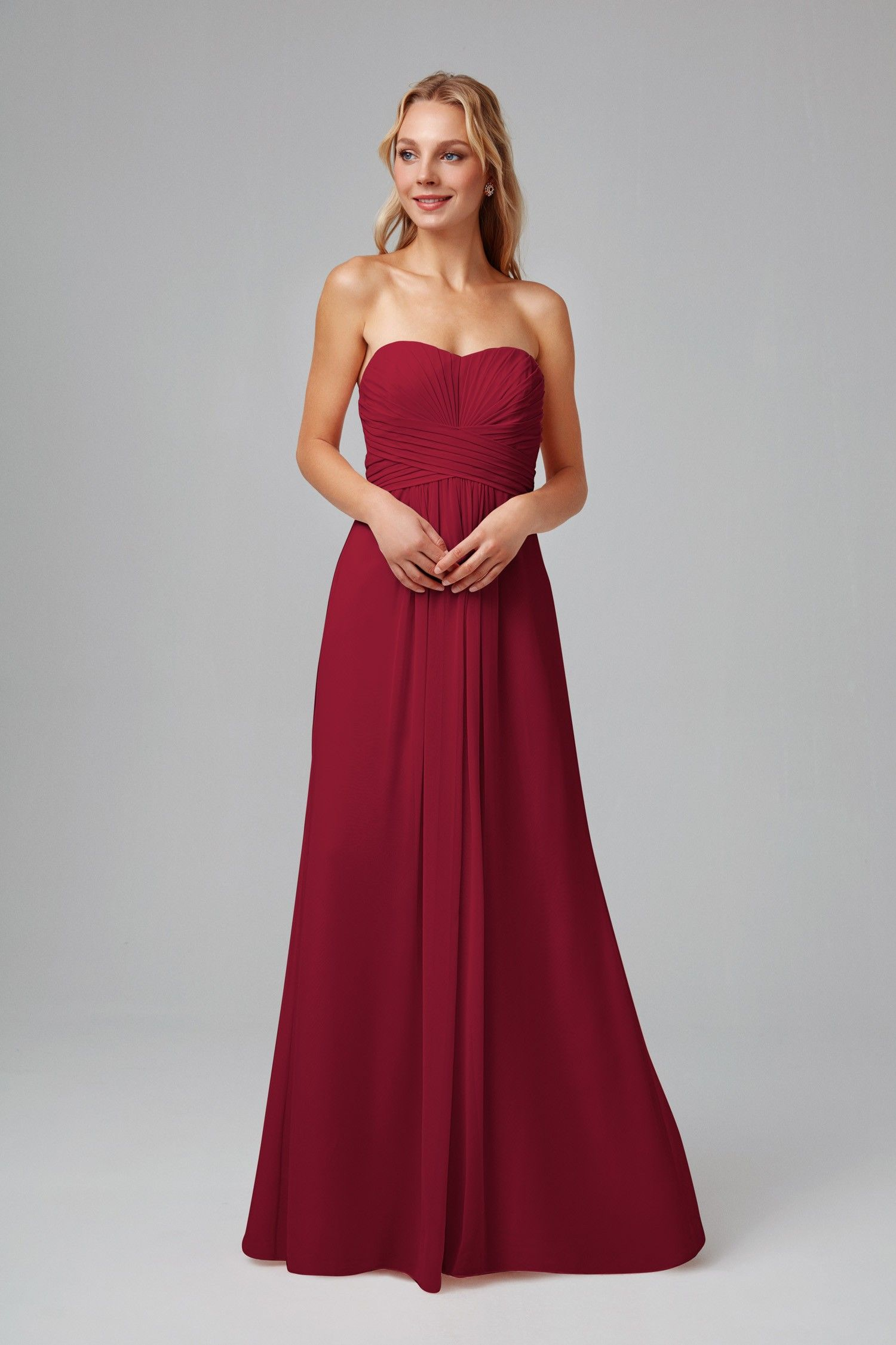 Long strapless chiffon dress with pleated bodice style no