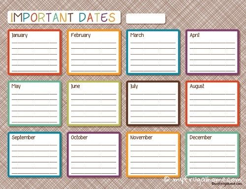 Important Dates Calendar Planners, Free printables and Free printable - perpetual calendar template