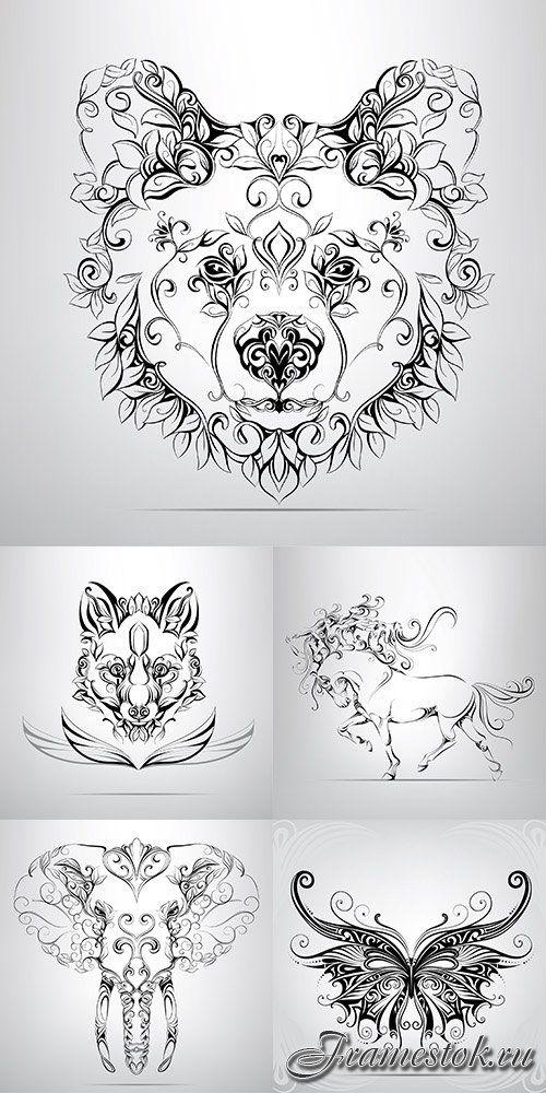 Векторный клипарт - Животные 2 | Вдохновляющие татуировки ...