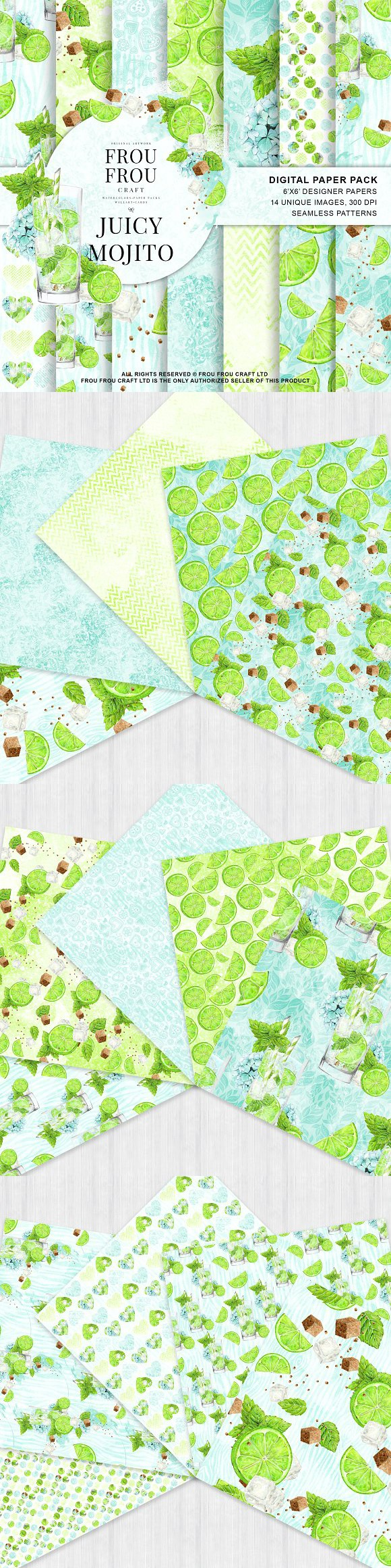 Watercolor Drinks Mojito Paper Pack. Wedding Card Templates