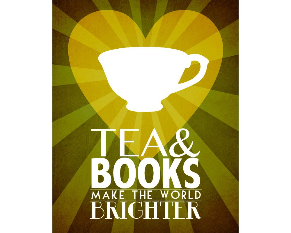 Tea & Books 11x14 Tea Art Print Poster, Book Reading Art, Teacup ...