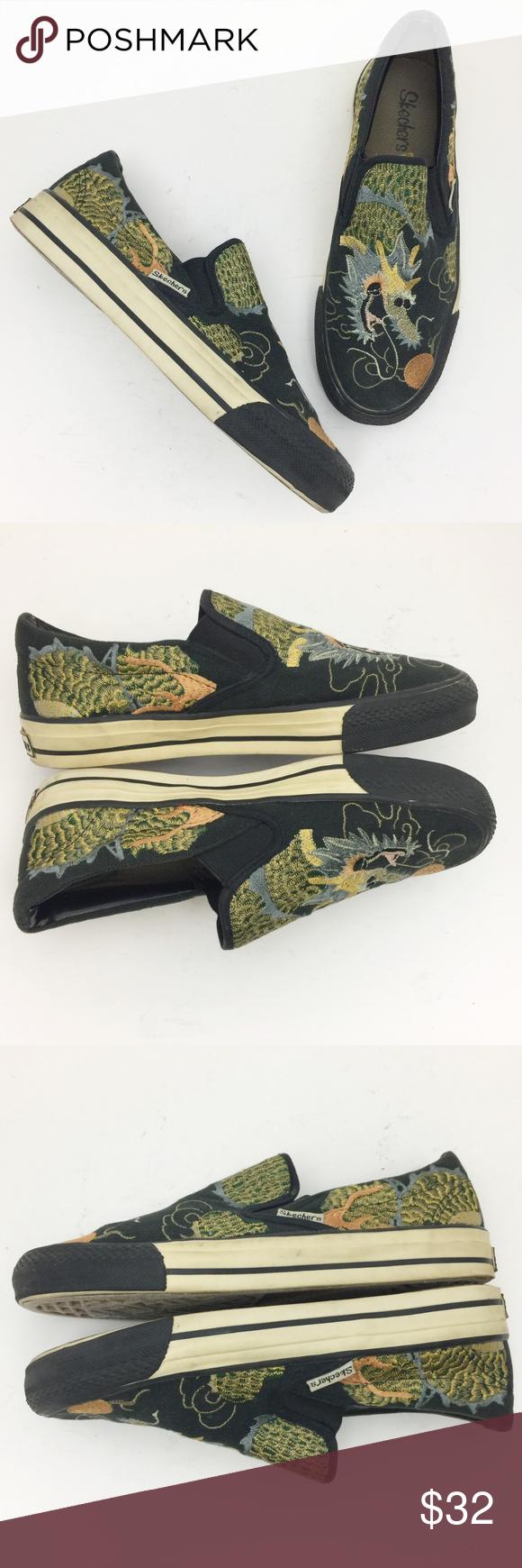 Skechers Cali Dragon Embroidered Slip On Sneakers Slip On