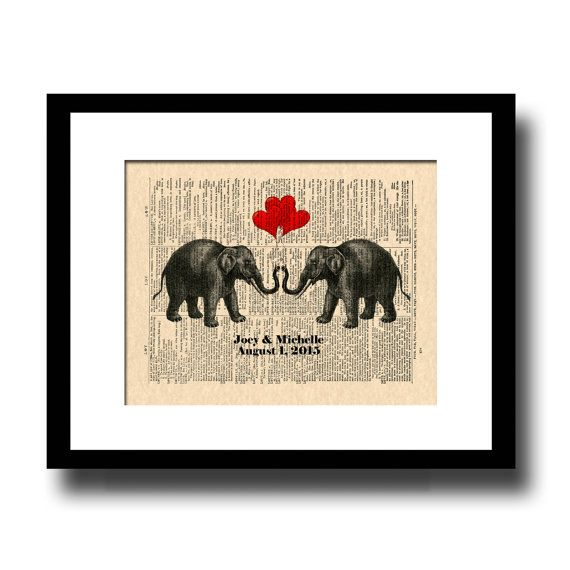 Custom 1st And 14th Anniversary Gift Two Elephants In Love With