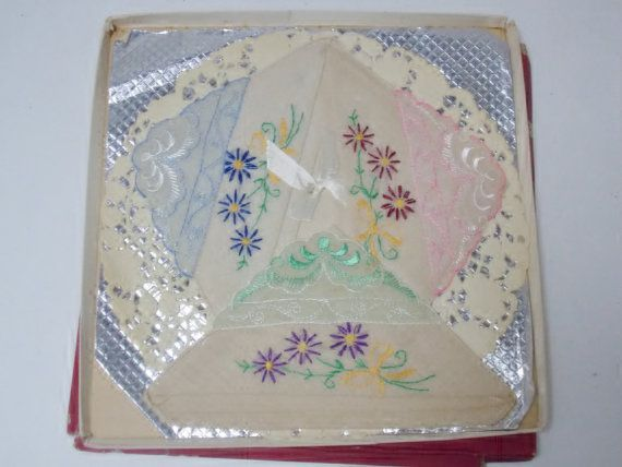 3 Embroidered Handkerchiefs in box  Unused  by DocsOddsandEnds