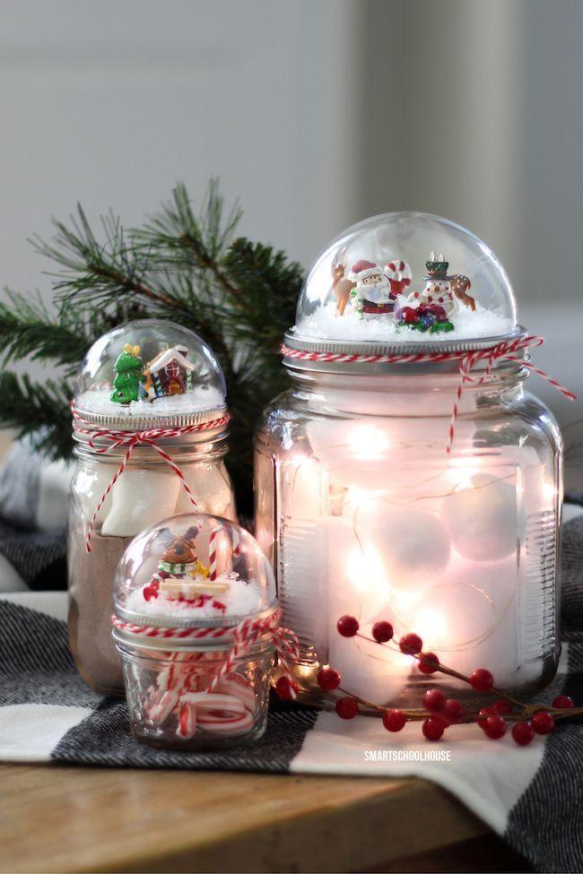 How to make a mason jar lid snow globe for christmas using for Diy mason jar crafts for christmas