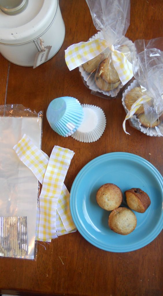 bake sale  cupcake liner with mini muffins and bow