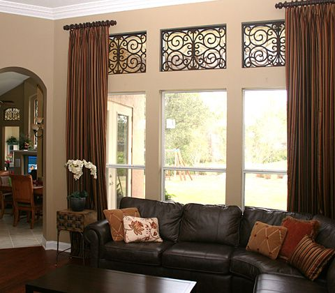 Faux Wrought Iron Design Interior Luxury Decorator Custom Transom Window TreatmentsLiving Room