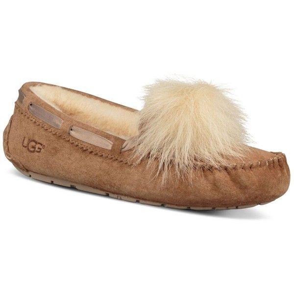 Ugg Women's Dakota Sheepskin Pom-Pom Slippers ($120) ❤ liked on Polyvore  featuring