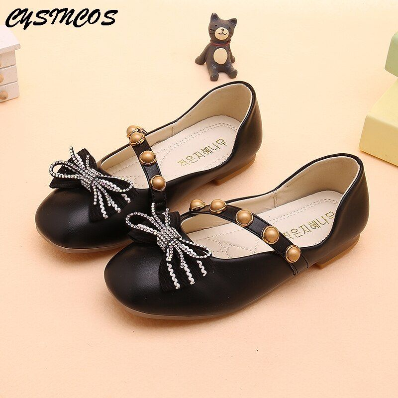 New Autumn Children Party Flats Bow-knot Kids Princess Shoes for Girls Students