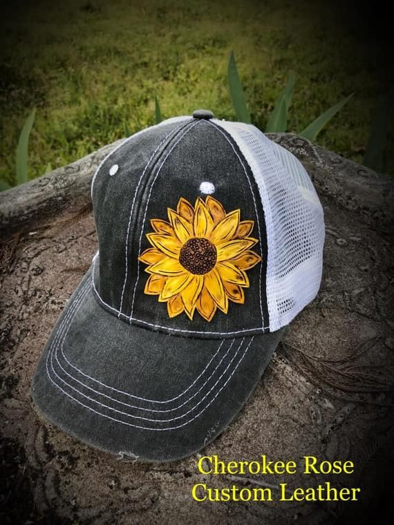 b168f4784ce72 Grey Baseball Cap~Leather Sunflower Cap Patch~Hand Painted Sunflowers~Grey  Truckers Cap