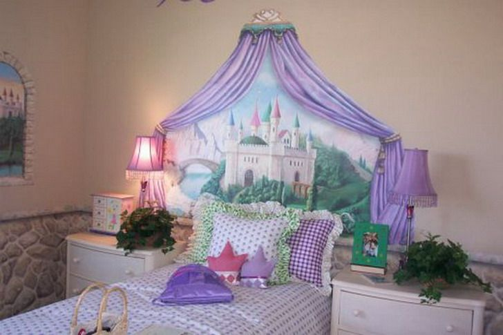 Castle disney princess wall mural decorating pinterest for Castle bedroom ideas