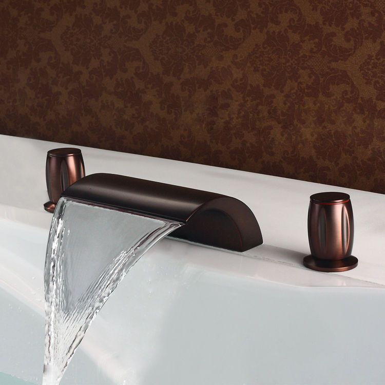 Modern 3 Holes Waterfall Bathtub Faucet Tap In Oil Rubbed Bronze