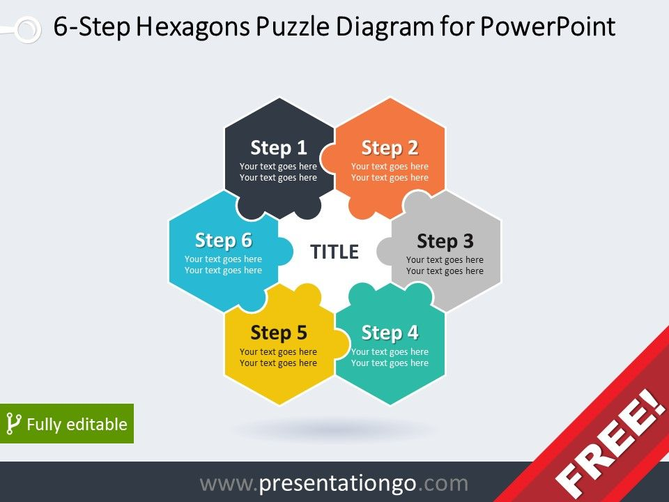 Free Diagram For Powerpoint With  Hexagonal Puzzle Pieces