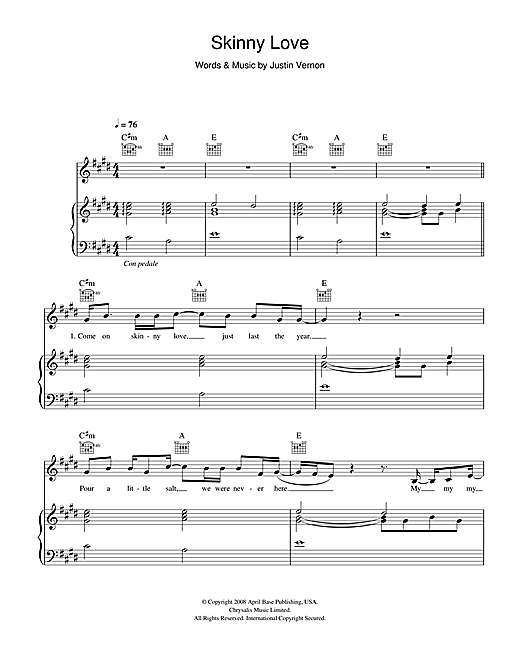 Birdy Skinny Love Sheet Music For Piano Also Available In Easy