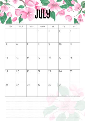 Cherry Blossoms 2020 / 2021 Calendar Printable PDF   2021 ...