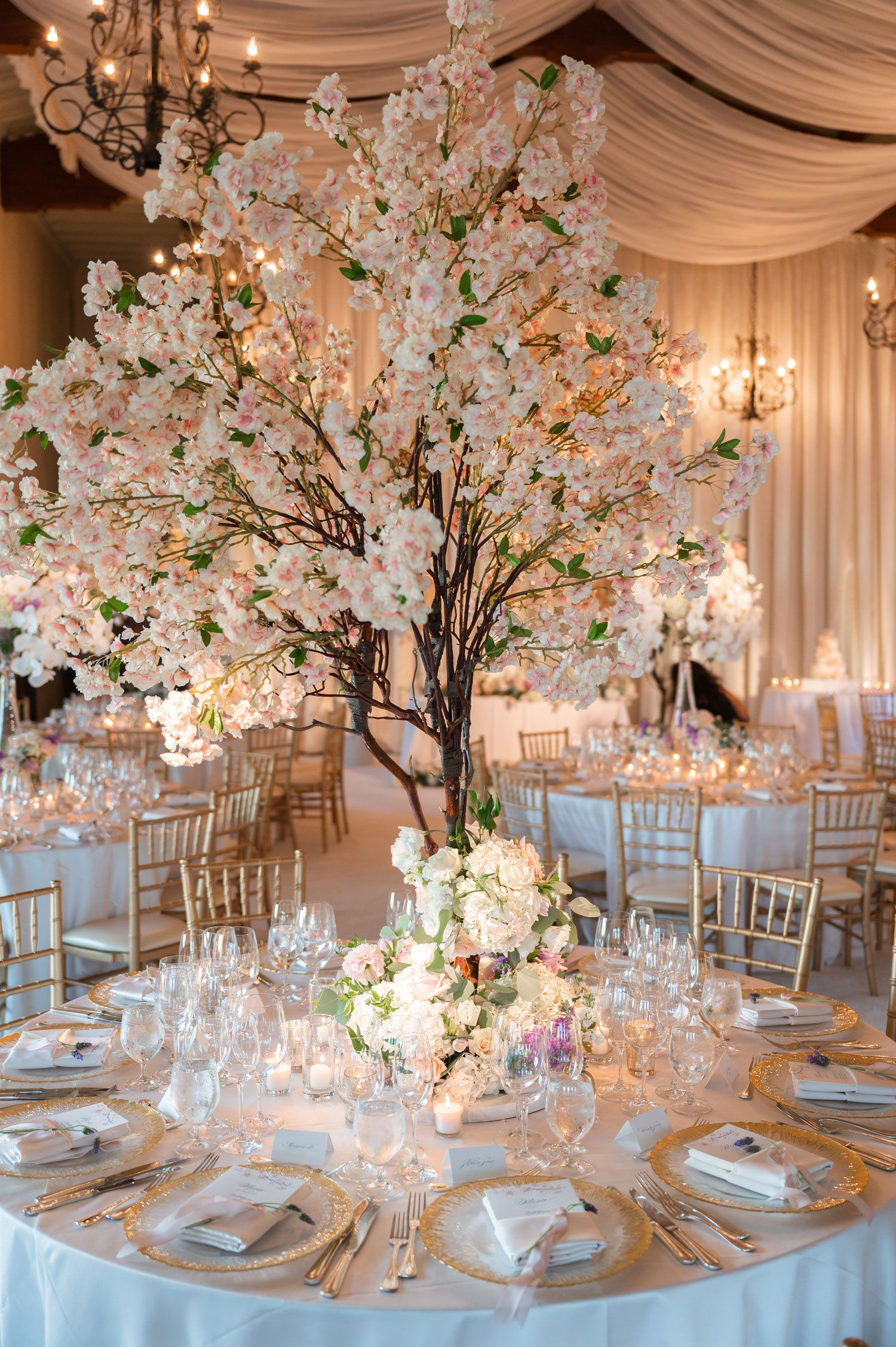 Ocean View Ceremony Elegant Reception With Cherry Blossom Theme Cherry Blossom Centerpiece Flower Centerpieces Wedding Cherry Blossom Theme