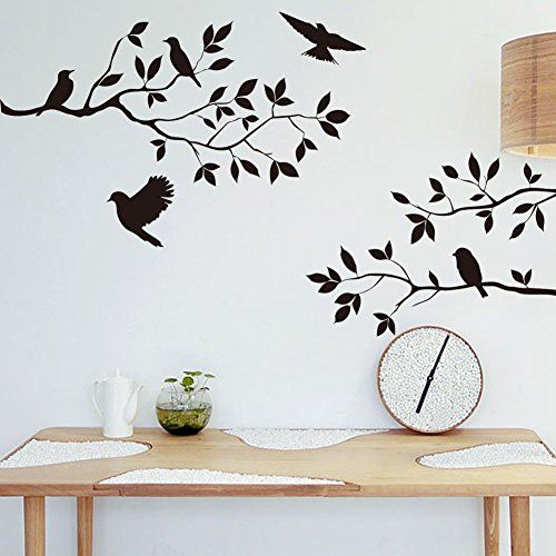 Clever! ** Amaonm® Detachable Vinyl Diy Nursery Black Birds and Tree Vine Foliage Wall Decals Wall Sticker Murals Wall Deocrative Artwork Decor for Bed room Dwelling Room Television Background Workplaces Wall Ornament