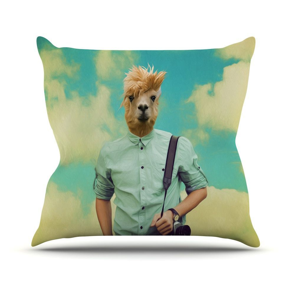 """Natt """"Passenger 1B"""" Llama Outdoor Throw Pillow"""
