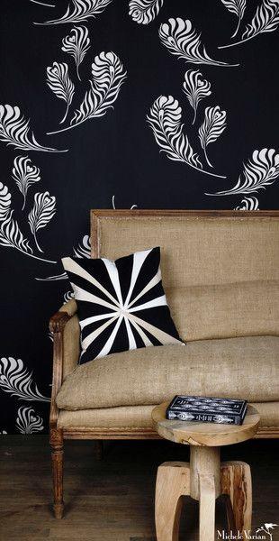 Plume Wallpaper Black Off White - Michele Varian