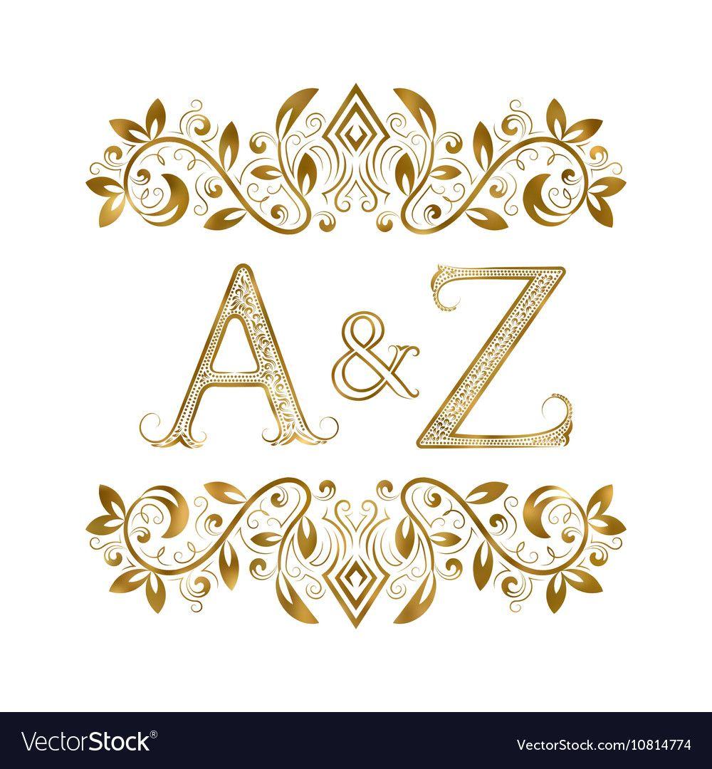 Az Vintage Initials Logo Symbol Letters A Z Vector Image Alphabet Letters Design Initials Logo Wedding Logo Design