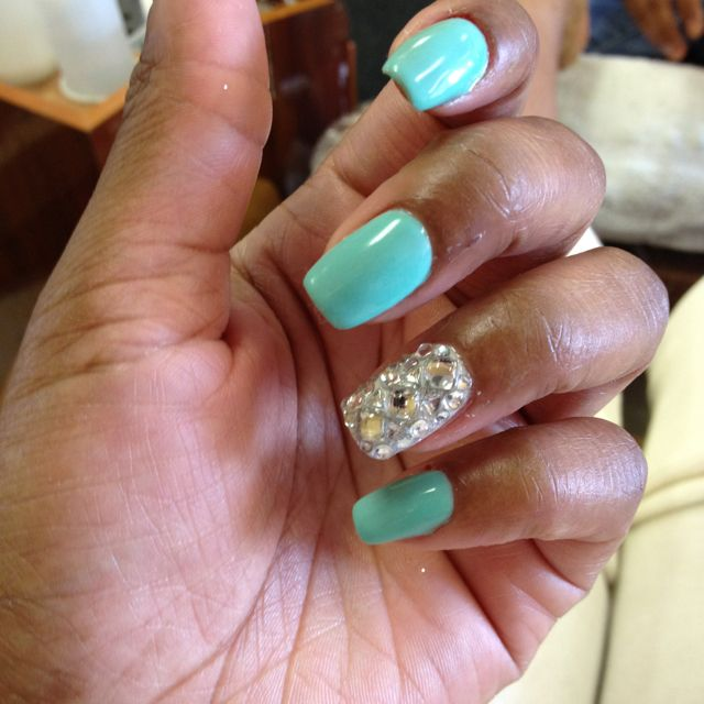 Tiffany Blue Crystal Junk Nail Nails Nails Nails Pinterest