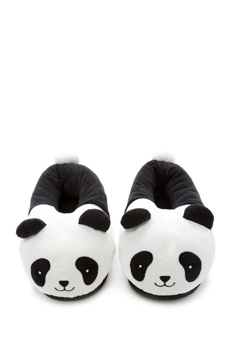 A pair of house slippers featuring an embroidered smiling panda face, and 3D ear and tail accents.