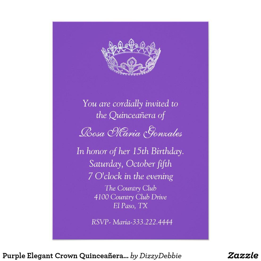 Purple Elegant Crown Quinceañera Invitation Lovely purple colored ...