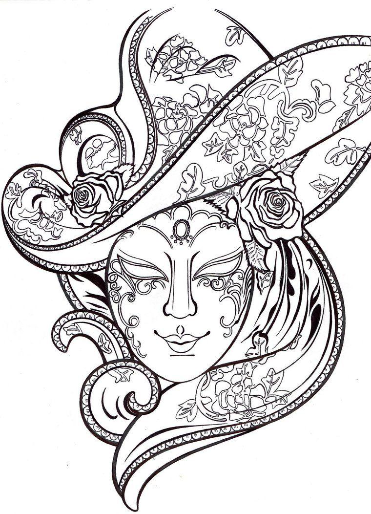 Venetian Carnival Mask By Katjiang Venetiaanse Maskers Maskers Kleurplaten